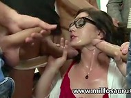 Staggering professor pleasing several men at the same time and getting anally drilled