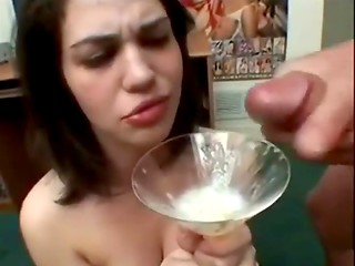 Sexy gourmets eating fresh cum - compilation