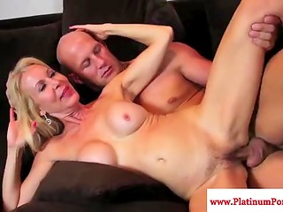 Glamorous mature blondes Nina Hartley and Erica fucked by big bald man