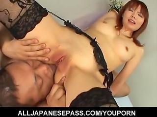 Asian hottie Himera Ebihara in lacy stockings takes cock in her wet tiny snatch