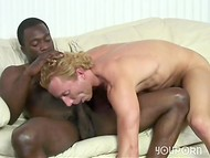 Huge Ebony cock penetrates deeply the throat of the blonde handsome surfer