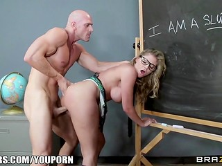 Sexy blonde schoolgirl in a plaid mini skirt seduces her teacher