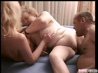 Blonde granny can not satisfy her hungry pussy and takes part in the FFM threesome with her friends