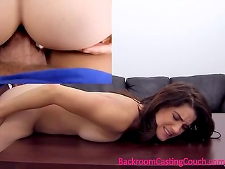 Shy brunette girl plays with her cunt then gets anally fucked in casting