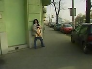 Young ladies have no shame to give a blowjob, get drilled and piss in public 8