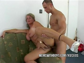 Man came to get a job and needs to bang mature blonde manager's asshole in the office