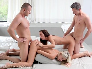 Pretty chicks Dido Angel and Gina Devine participating in group sex session