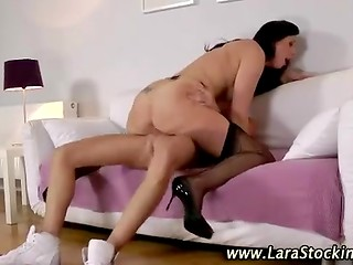 Tall brunette MILF in sexy lingerie attacks her daughter's boyfriend with passionate blowjob and voluptuous fucking