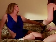 Experienced lesbian MILF with tattoos masturbating her young girlfriend's sissy 3