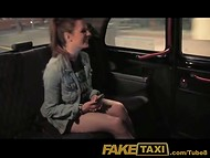 Friendly young girl with yummy melons gets fucked by taxi driver on the back seat of the car