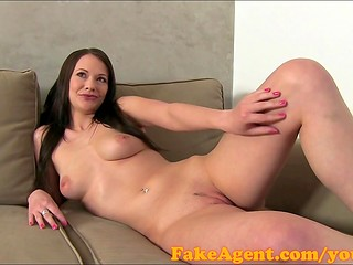 FakeAgent: cute and sexy brunette takes creampie load in her pussy in casting