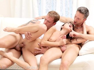 Skinny girl with small tits pleasing two guys desires