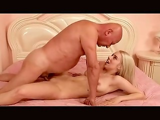 Lucky old man bangs blonde's young tight cunt then cums inside her