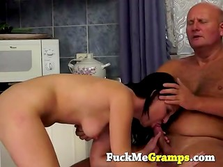 Older man wants to touch girl's young body and fuck her tight vagina