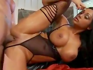 Stunning brunette MILF with big boobs banged in the hottest positions by lucky man