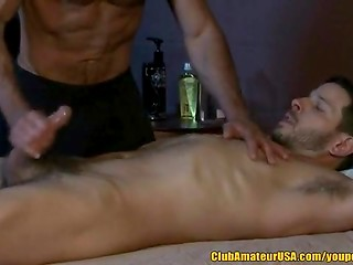 Muscled gay gave wonderful handjob and blowjob to his handsome best friend