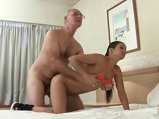 Mature man with glasses bangs slender Latina brunette in her tight asshole