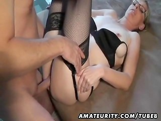 Slow and gentle sex of MILF amateur in eyeglasses