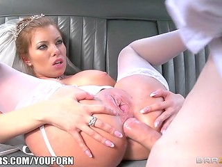 Horny bride getting her asshole fucked before wedding
