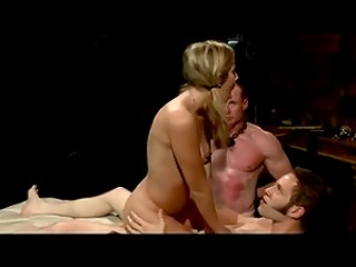 Lustful blonde started using strapon in order to enjoy time with two men