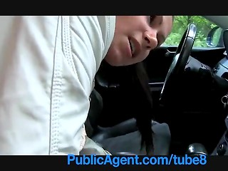 Sexy brunette lady was picked up in the street and banged in the car till nice cumshot on her ass