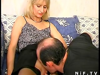Cute French lady in tight stockings takes rod up her ass