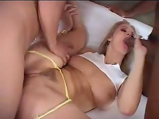 Elegant blonde with big boobs Jane Darling meets black and white cocks after taking a shower