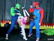 Super Mario and his best friend fucking buxom brunette in stockings 4