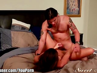 Long-haired boyfriend and his young brunette chick fucking in the bedroom