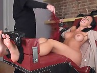 Black-haired bitch with great forms exhausted from the tickling