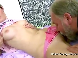 Teenage girl doesn't love getting banged by old man