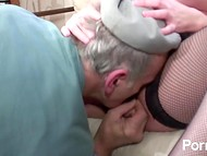 French Voyeur Papy and his freidn fuck chubby redhead with big natural boobs 4
