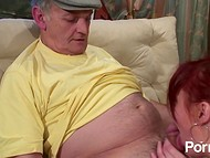 French Voyeur Papy and his freidn fuck chubby redhead with big natural boobs
