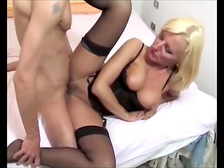Italian blonde in black corset craving for good fuck