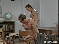 Nice fellows fucking at school and reaching multiple orgasms in a few minutes 10