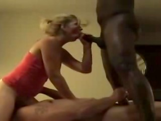 White wife willingly sucks big black cock riding her husband's face in the free amateur porn clip