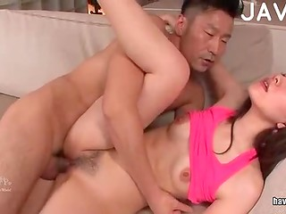 Petite Jap girl sucks her bf's cock and licks his family jewels like a real pro