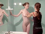 Fair-skinned teen angel with exceptional natural tits got sweet massage after showering