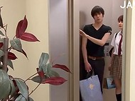 Japanese girl jammed by the elevator doors and fucked by teen guy