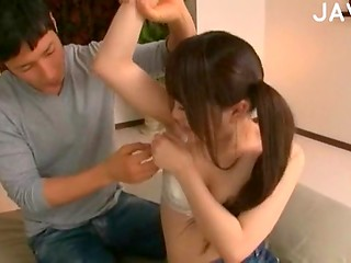 Super teen and cute Japanese girl lets him enjoy her body's treasures
