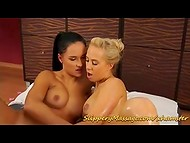 Beautiful brunette and sexy blonde babes shows us real passion in the oiled massage scene 7