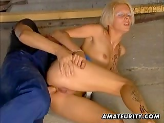 Tanned blonde cutie fucked in the asshole by a builder