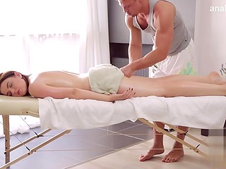 Brunette lady going for massage and getting her boobs touched and pussy fucked