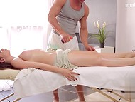 Brunette lady going for massage and getting her boobs touched and pussy fucked 4