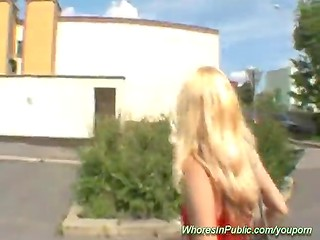 Exciting blonde slut demonstrates her nice boobs and sucks my cock