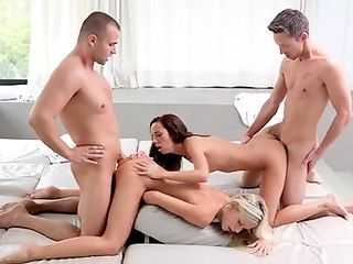 Two stunning babes and their boyfriends have pleasant leisure time