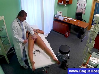 Doctor tests new blonde patient by his big white dick