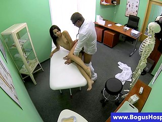 Hot Latina brunette at the medical examination by handsome doctor