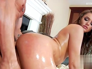 Oiled young cutie wants anal fuck in the house on the couch