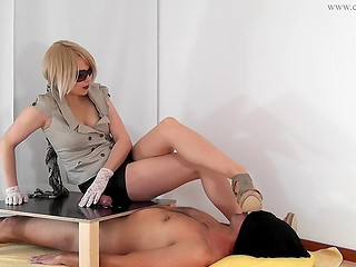 Revengefull blonde clamped guy's dick and plays with it